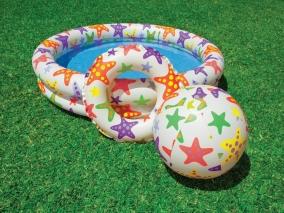 INTEX - Детски надуваем басейн, топка и пояс Звезди 759460